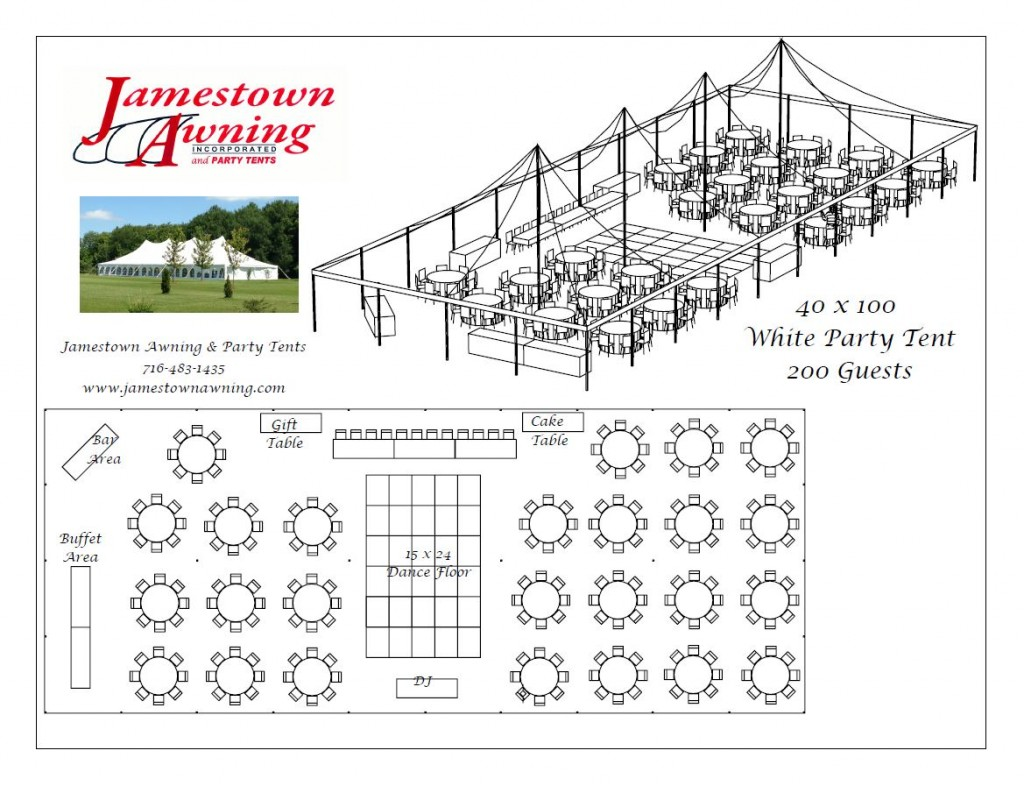 40 x 100 White Party Tent