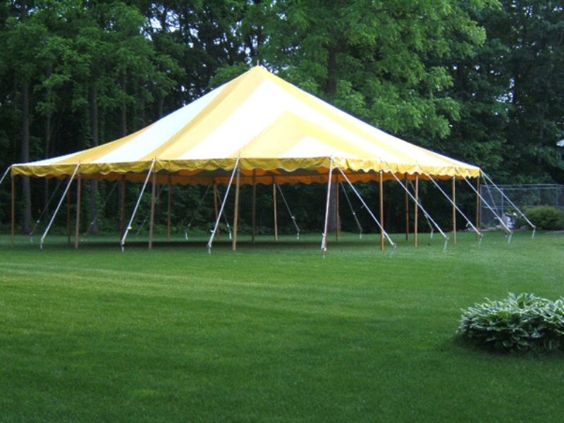Yellow Striped tent (not ours 30 x 30)