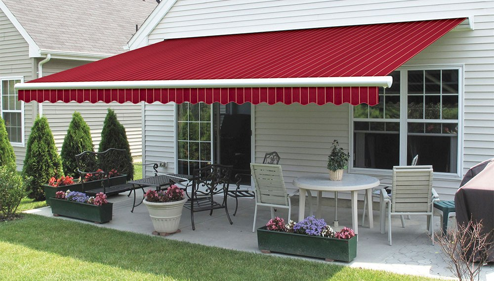 Red Stripe Retractable Awning Residential 1 Jpg