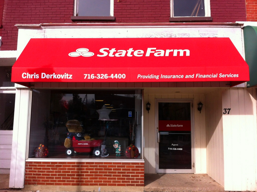 State Farm mercial red storefront awning Jamestown Awning